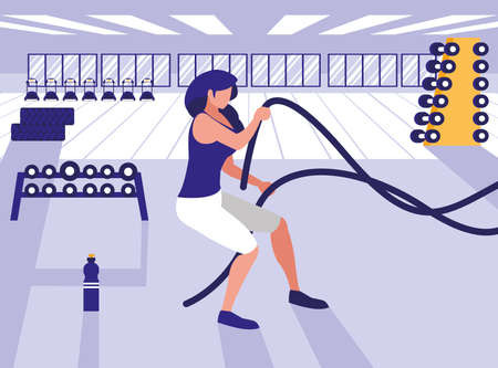 young athletic woman with rope sport in gym vector illustration design