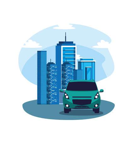 Auto auf der Straße vor Gebäudedesign, Fahrzeugautomobiltransporttransportrad Automobil- und Geschwindigkeitsthema Vektorillustration Vektorgrafik
