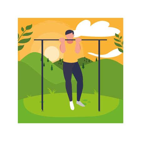 man up hanging on horizontal bar, outdoor or gym sport vector illustration design