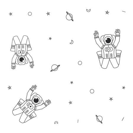 pattern of astronauts suits with planet saturn and stars vector illustration design