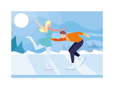couple of people practicing figure skating , ice sport vector illustration design