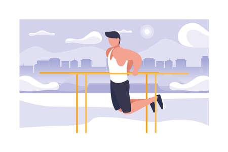 Man pulled on the bar sports. Fitness. Flat design vector illustration. vector illustration design