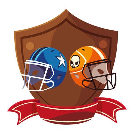 american football helmets in shield with ribbon vector illustration design