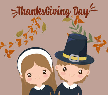 Woman man cartoon and leaves of thanksgiving day design, Autumn season holiday greeting and traditional theme Vector illustration
