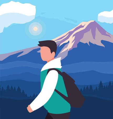 Hiker man with bag and landscape design, Walker excursionist rambler tripper tourist travel trip tourism and journey theme Vector illustration Illustration