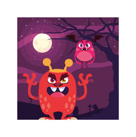 scary monsters in halloween night, angry monsters vector illustration design Illustration