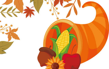 Plenty horn and leaves of thanksgiving day design, Autumn season holiday greeting and traditional theme Vector illustration 일러스트