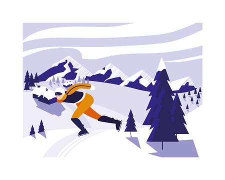 man skating, winter sport vector illustration design