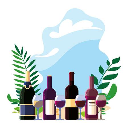 bottle and glass of wine on background landscape vector illustration design 向量圖像