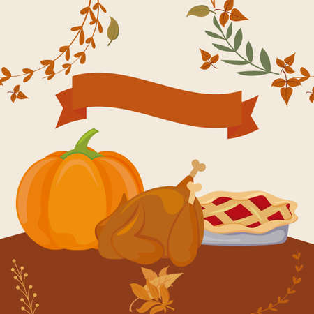 Food and leaves of thanksgiving day design, Autumn season holiday greeting and traditional theme Vector illustration 일러스트