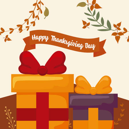 Gifts and leaves of thanksgiving day design, Autumn season holiday greeting and traditional theme Vector illustration