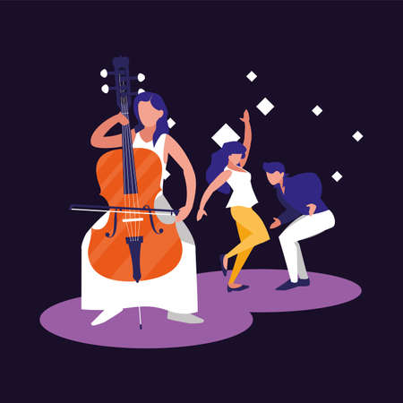 Musician woman and dancers design, Music festival sound melody song musical art and composition theme Vector illustration 向量圖像