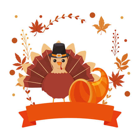 Turkey and plenty horn of thanksgiving day design, Autumn season holiday greeting and traditional theme Vector illustration