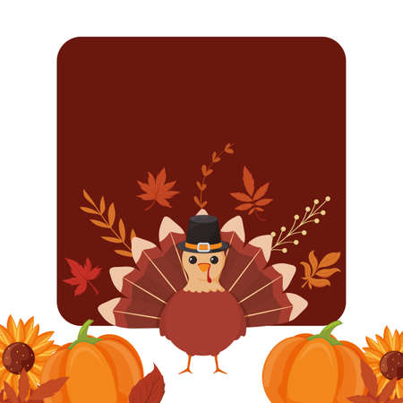 Turkey and pumpkins of thanksgiving day design, Autumn season holiday greeting and traditional theme Vector illustration