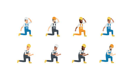 Builder avatar men with yellow and white helmet set design of Construction working maintenance worker job workshop repairing and progress theme Vector illustration Stock Illustratie