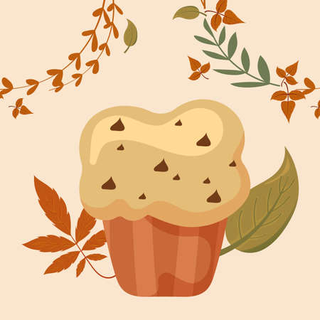 Muffin and leaves of thanksgiving day design, Autumn season holiday greeting and traditional theme Vector illustration