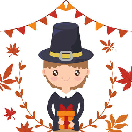 Man cartoon of thanksgiving day design, Autumn season holiday greeting and traditional theme Vector illustration