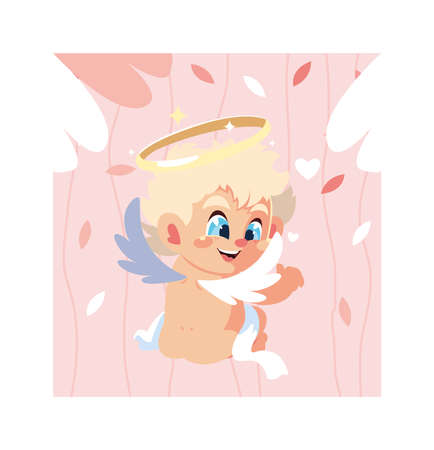 cute cupid angel , valentines day vector illustration design
