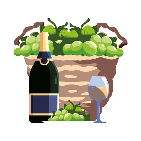 bottle and glass of wine with grapes in wicker basket vector illustration design