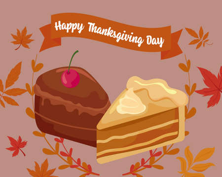 Cakes and leaves of thanksgiving day design, Autumn season holiday greeting and traditional theme Vector illustration