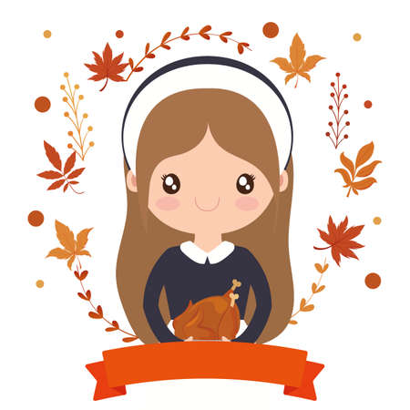 Woman cartoon of thanksgiving day design, Autumn season holiday greeting and traditional theme Vector illustration