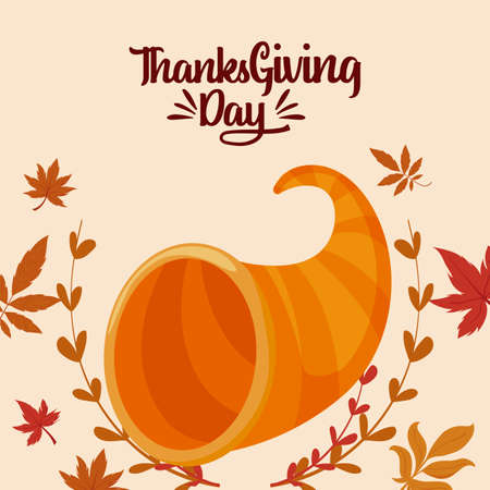 Plenty horn and leaves of thanksgiving day design, Autumn season holiday greeting and traditional theme Vector illustration Stock Illustratie
