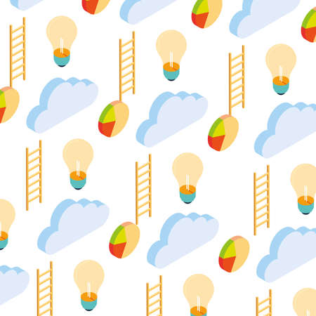 pattern of cloud with stairs and pie chart on white background vector illustration design