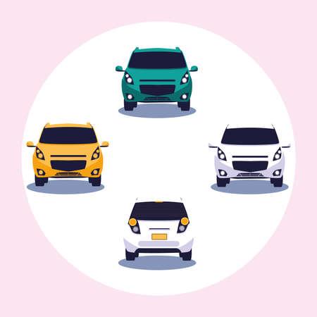 Cars set design, Vehicle automobile auto transportation transport wheel automotive and speed theme Vector illustration