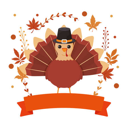 Turkey ribbon and leaves of thanksgiving day design, Autumn season holiday greeting and traditional theme Vector illustration
