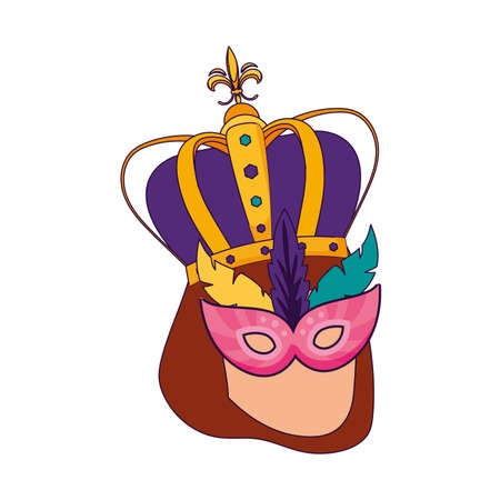 Woman with mardi gras mask and crown design, Party carnival decoration celebration festival holiday fun new orleans and traditional theme Vector illustration Stock Illustratie