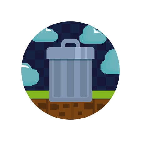 video game controls and trophy pixelate icon vector illustration design
