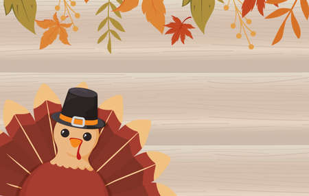 Turkey and leaves of thanksgiving day design, Autumn season holiday greeting and traditional theme Vector illustration 일러스트