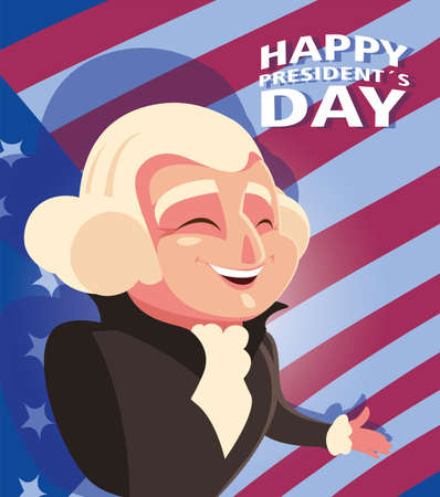 happy president day, president George Washington vector illustration design
