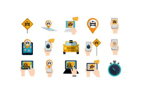 Taxis icon set design, Car transport vehicle transportation cab travel urban city and street theme Vector illustration