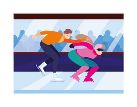 couple of people practicing skating winter vector illustration design 일러스트