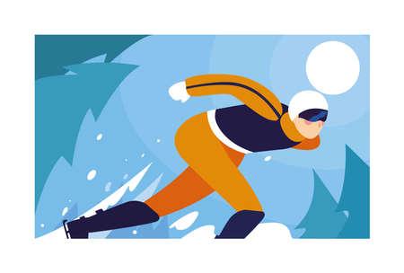 man skating on ice rink, winter sport vector illustration design