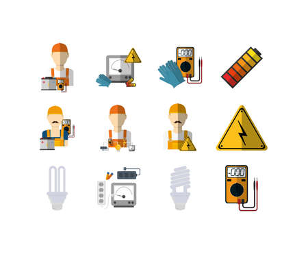 Electric equipment icon set design, Power electrical technology tool industry energy construction industrial and connection theme Vector illustration