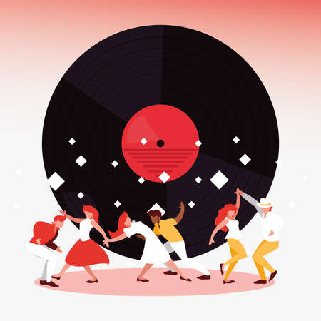 Dancers and vinyl design, Music festival sound melody song musical art and composition theme Vector illustration