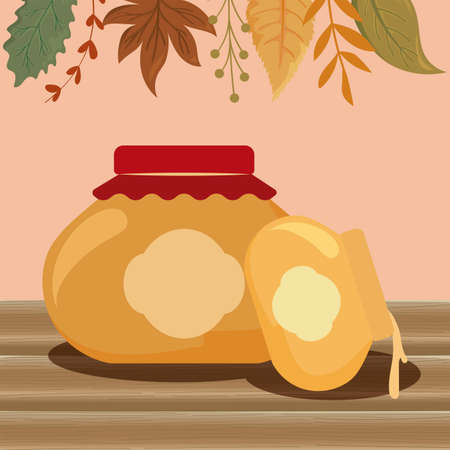 Jars and leaves of thanksgiving day design, Autumn season holiday greeting and traditional theme Vector illustration