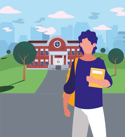 Boy student in front of school building design, Eduaction class lesson knowledge preschooler study learning and primary theme Vector illustration