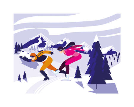 couple of people practicing speed skating vector illustration design 일러스트