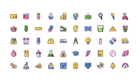 Icon Set Cartoons Design, Schulausdruck niedlichen Charakter lustig und Emoticon Thema Vector Illustration