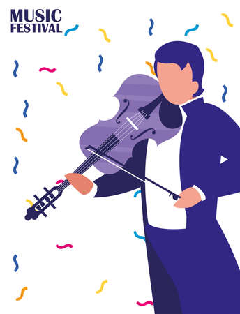 Musician man with fiddle design, Music festival sound melody song musical art and composition theme Vector illustration Ilustrace