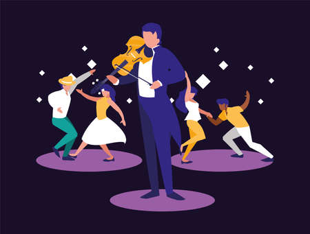 Musician man and dancers design, Music festival sound melody song musical art and composition theme Vector illustration