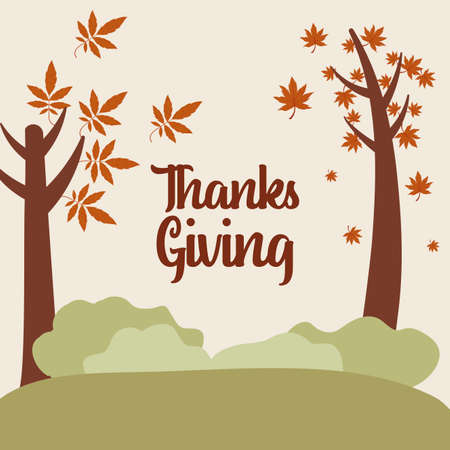 Trees and shrubs of thanksgiving day design, Autumn season holiday greeting and traditional theme Vector illustration