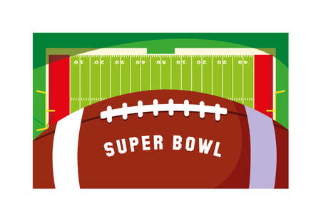 super bowl label with football stadium and ball rugby vector illustration design