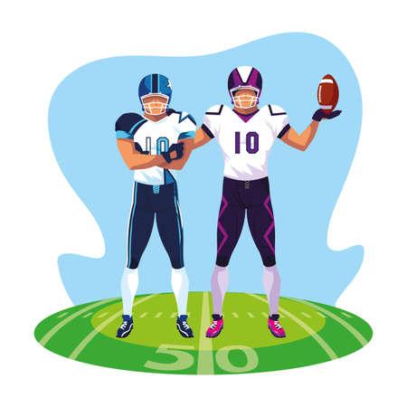 men players american football on stadium grass vector illustration design