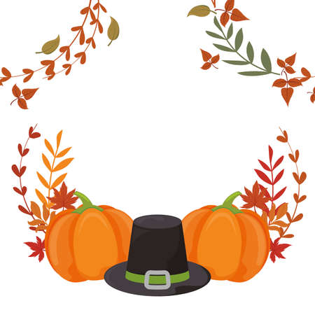 Black hat and pumpkins of thanksgiving day design, Autumn season holiday greeting and traditional theme Vector illustration 일러스트