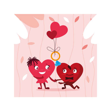 hearts with engagement ring, valentines day vector illustration design