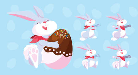 set of bunnies with easter eggs, happy easter vector illustration design